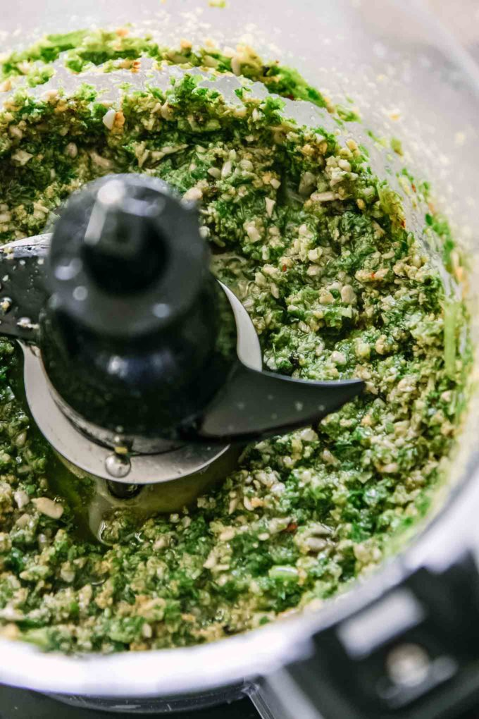 pesto sauce inside a food processor