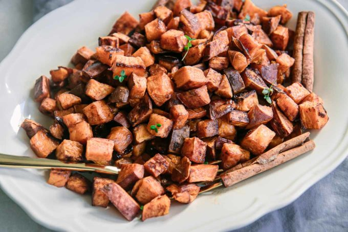 baked sweet potatoes on a white plate