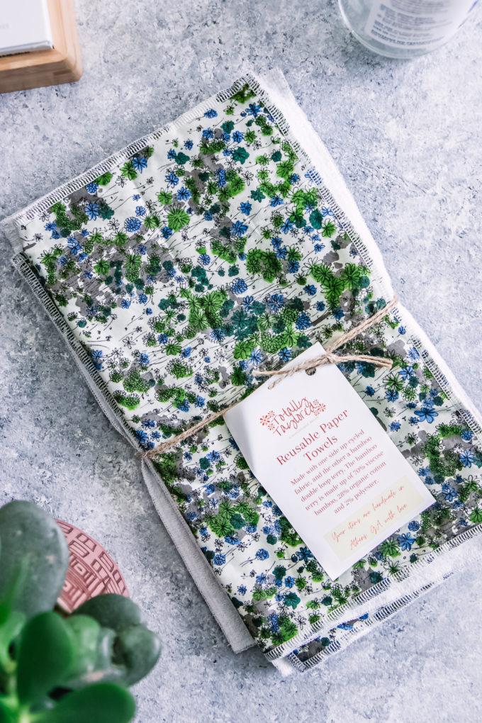 reusable unpaper towels on a blue table