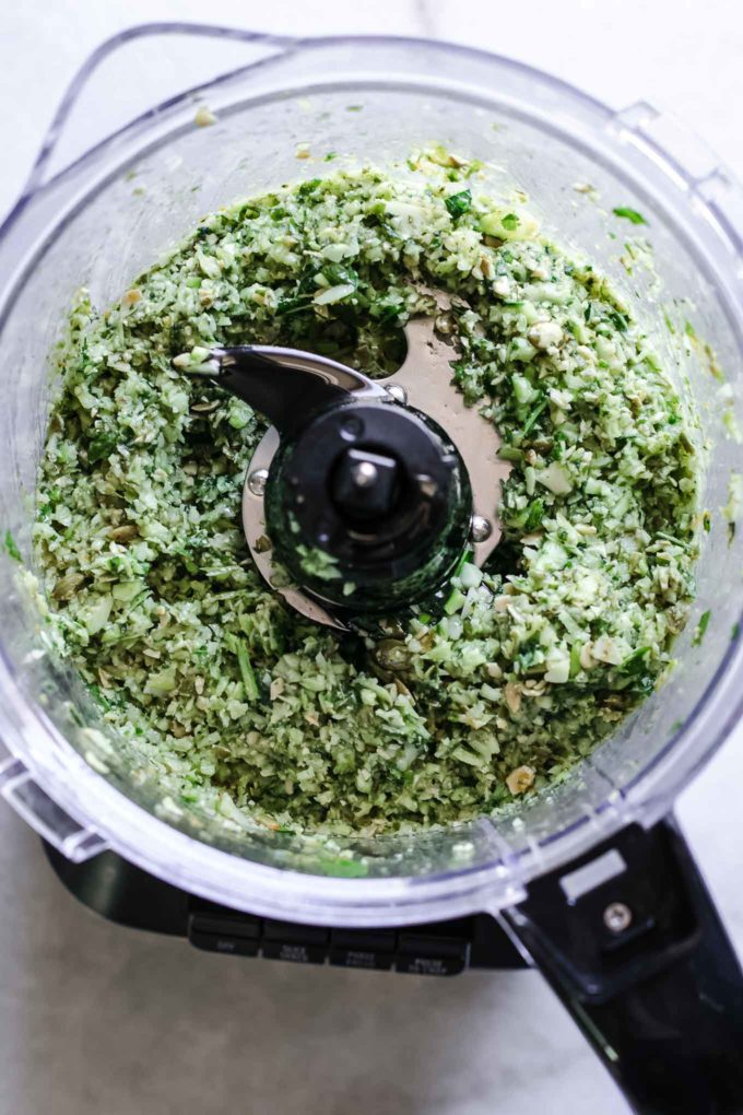 blended pesto with broccoli in a food processor