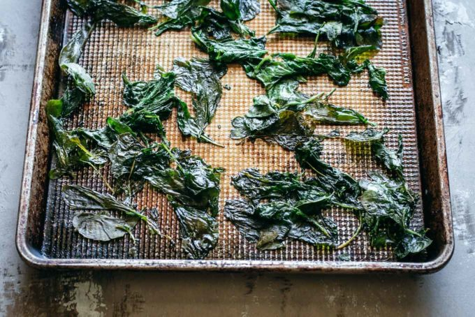 baked radish greens on a baking sheet