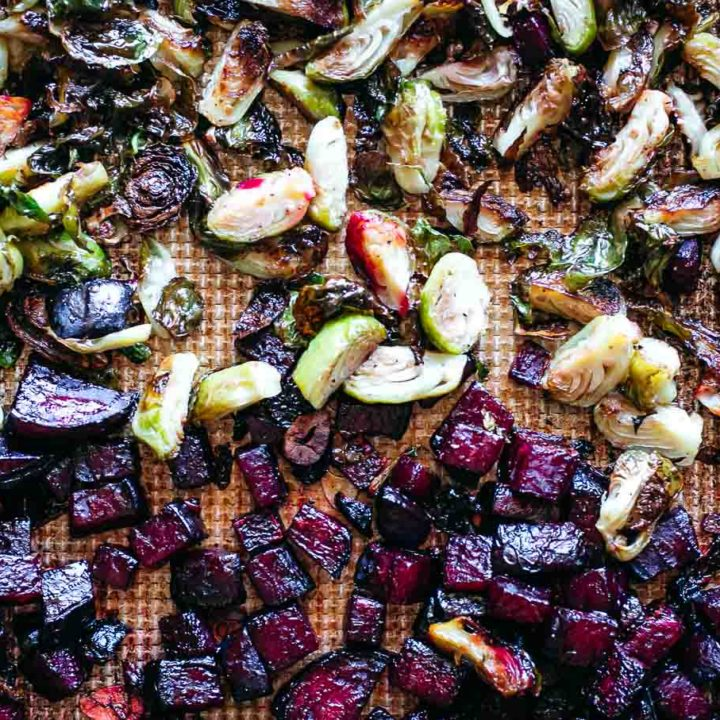 close up of roasted beets and brussels sprouts