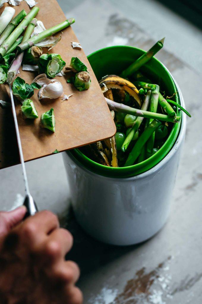 food scraps inside a compost bin