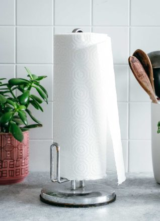 paper towels on a paper towel holder