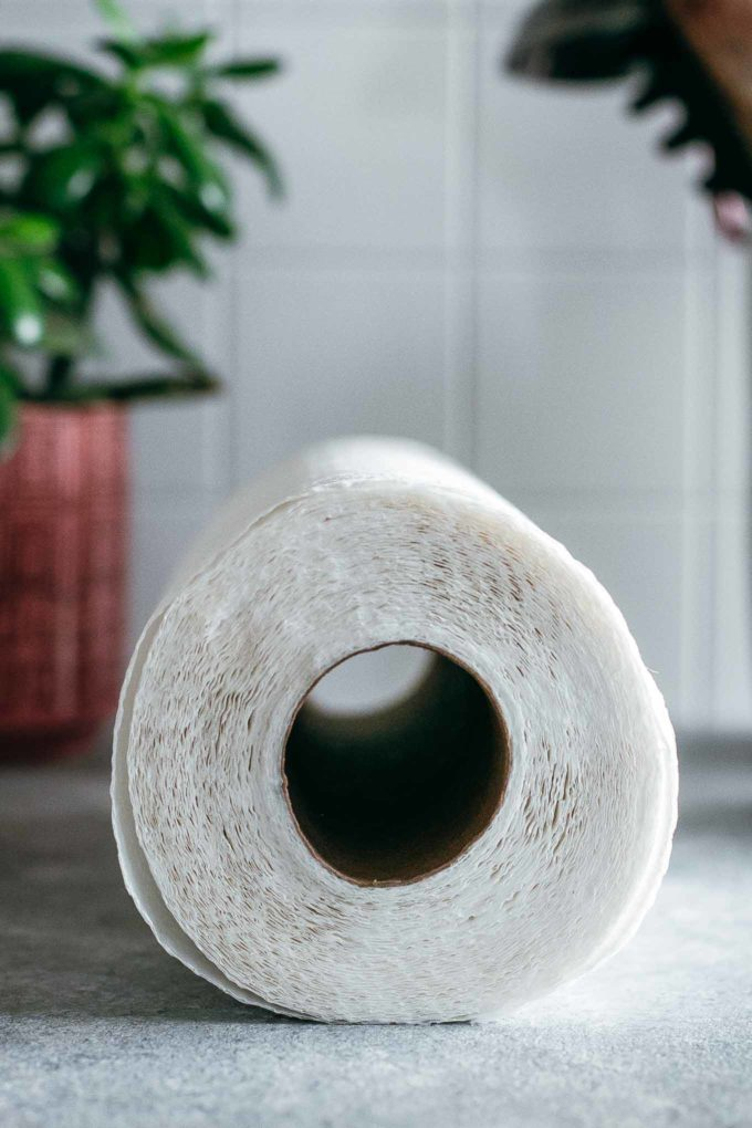 view of the end of a roll of paper towels