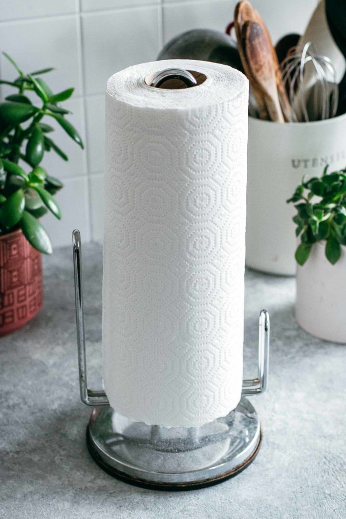 paper towel holder with a roll of paper towels, on a countertop with green plants